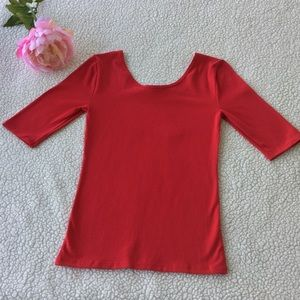 ANN TAYLOR | RED MEDUIM DOUBLE SCOOP TEE